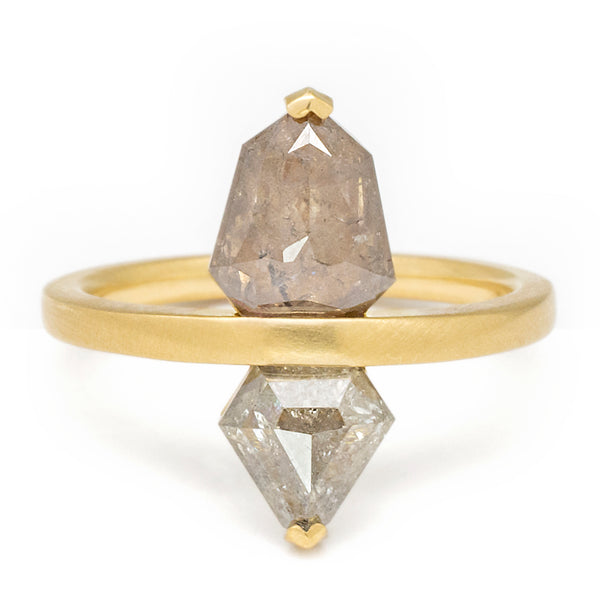 One of a Kind Double Pentagon Diamond Ring - Anne Sportun Fine Jewellery