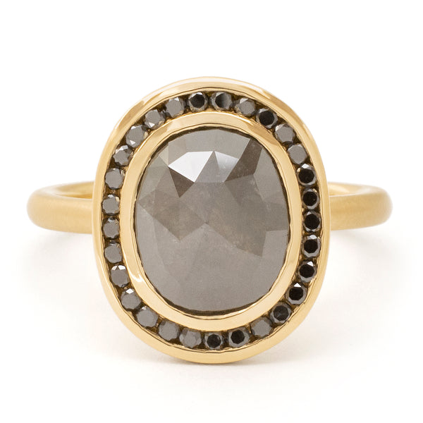 One of a Kind Black Diamond Halo Ring - Anne Sportun Fine Jewellery