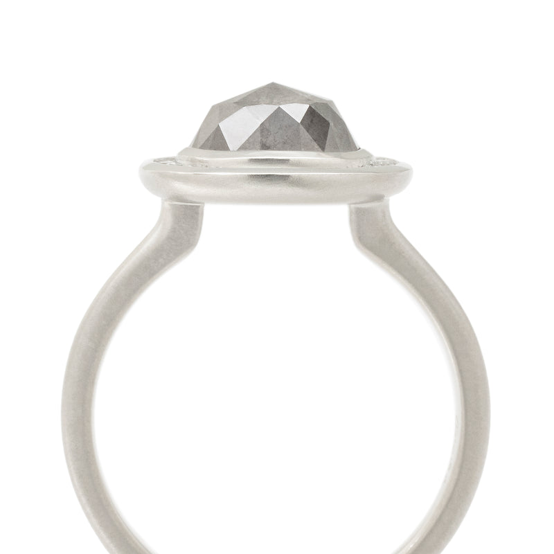 One of a Kind Salt + Pepper Diamond Halo Ring - Anne Sportun Fine Jewellery Toronto, Canada, and U.S.