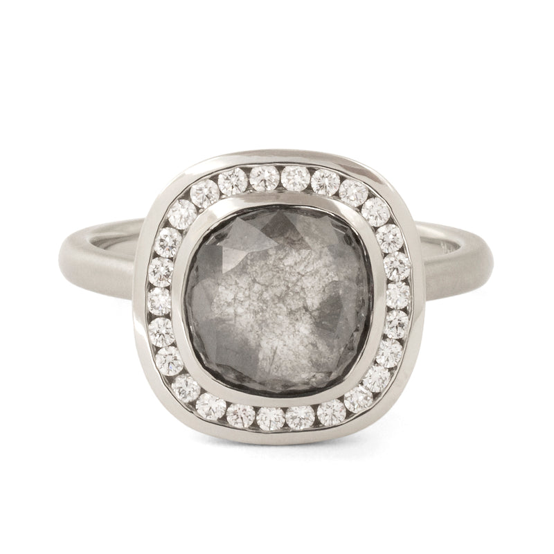 One of a Kind Salt + Pepper Diamond Halo Ring - Anne Sportun Fine Jewellery