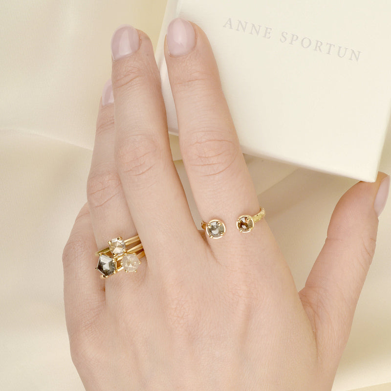 One of a Kind Hexagon Diamond Ring - Anne Sportun Fine Jewellery