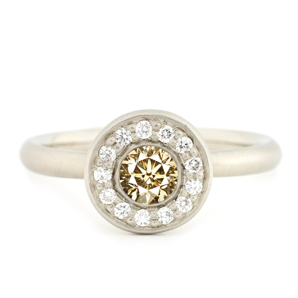 Champagne Diamond Pave Halo Ring