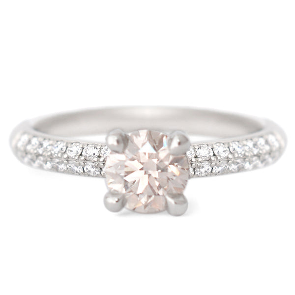 One of a Kind Champagne Solitaire with Pave Diamond Band - Anne Sportun Fine Jewellery