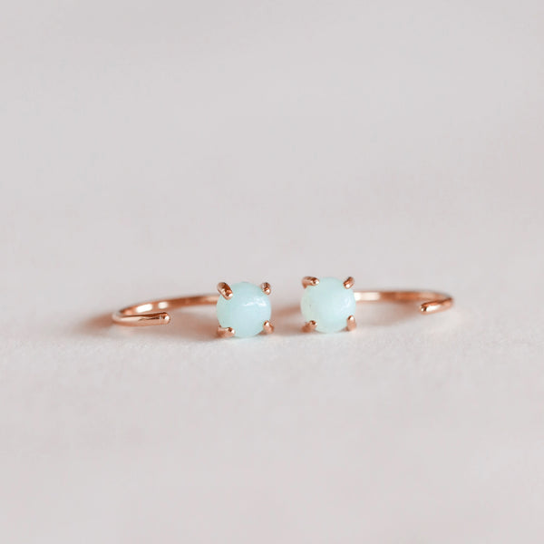 Amazonite Huggie Rose Gold Earrings