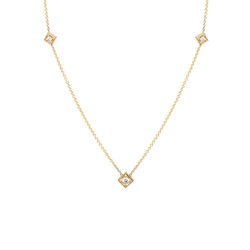 DIAMOND SHAPED STATION NECKLACE - Anne Sportun Fine Jewellery