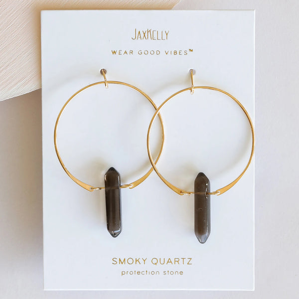 Hoop Earrings - Smoky Quartz