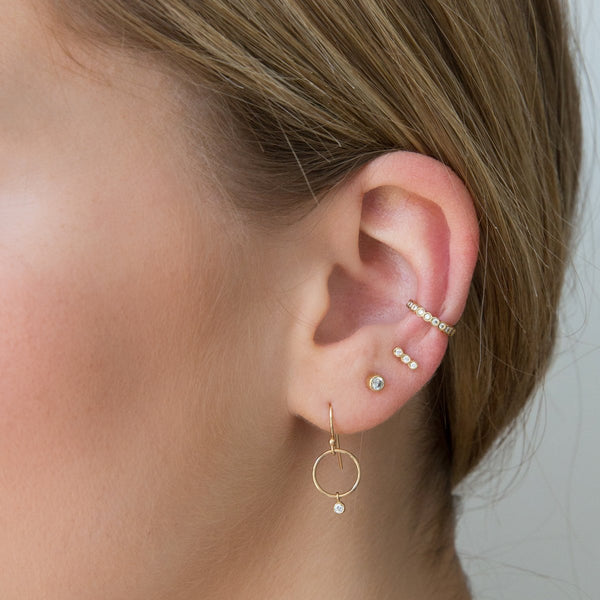 TINY DROP CIRCLE HOOK EARRINGS - 14K GOLD - DIAMONDS