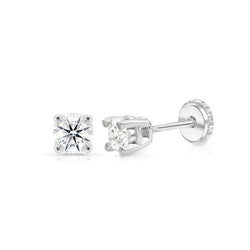 DIAMOND STUD EARRINGS - SCREW BACK - 0.35TCW - 14k WHITE GOLD