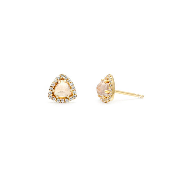 TRIELLE MINI STUDS | GOLD| ROSE QUARTZ