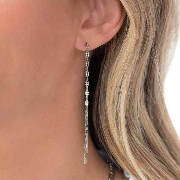 ORO THREADER EARRINGS | SILVER