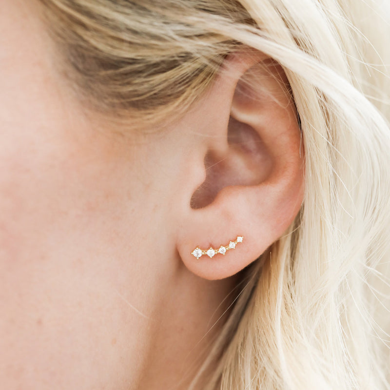 Crawler Earrings - White CZ