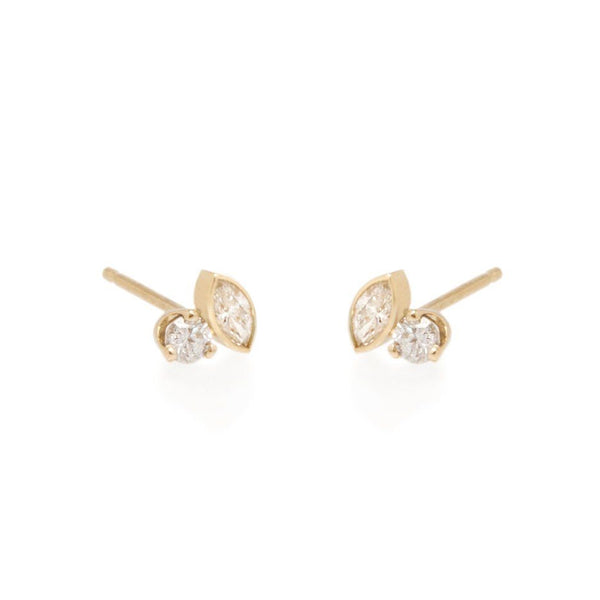 BEZEL MARQUISE AND PRONG ROUND DIAMOND STUD EARRINGS - 14K YELLOW GOLD