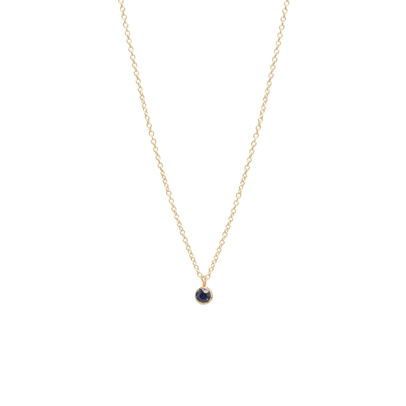SINGLE BLUE SAPPHIRE CHOKER PENDANT NECKLACE - Anne Sportun Fine Jewellery
