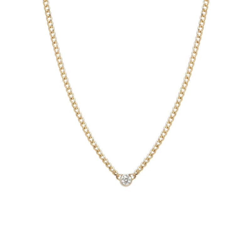EXTRA SMALL CURB CHAIN NECKLACE WITH BEZEL DIAMOND - 14K GOLD