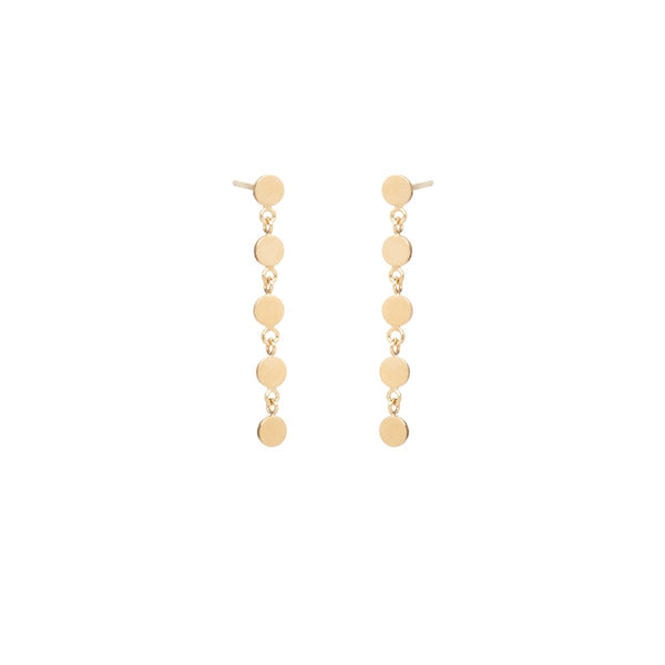 5 ITTY BITTY ROUND DISC DROP EARRINGS - 14k YELLOW GOLD