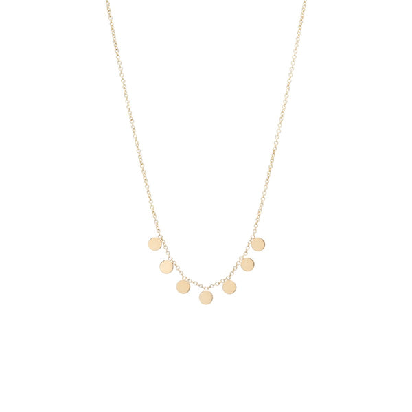 14K 7 ITTY BITTY ROUND DISC NECKLACE