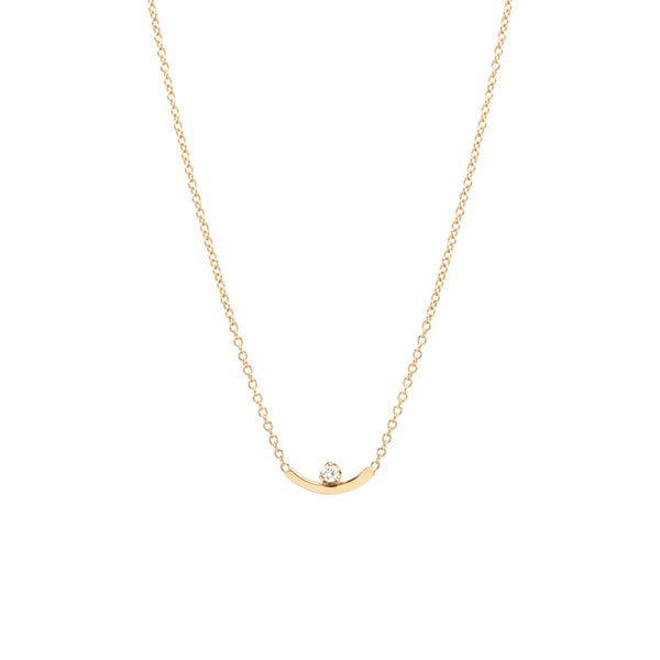 CURVED BAR PRONG DIAMOND NECKLACE - 14K YELLOW GOLD