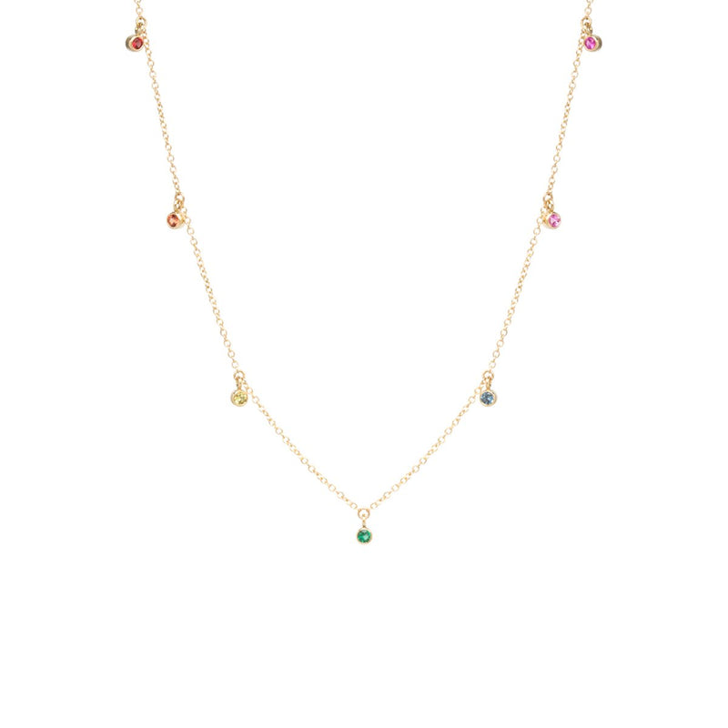 7 DANGLING RAINBOW SAPPHIRE NECKLACE - 14k GOLD