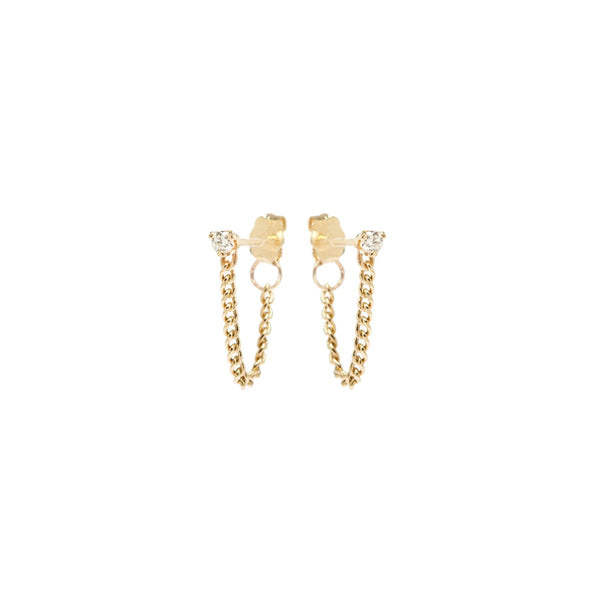 PRONG DIAMOND CHAIN STUD EARRINGS - 14K YELLOW GOLD