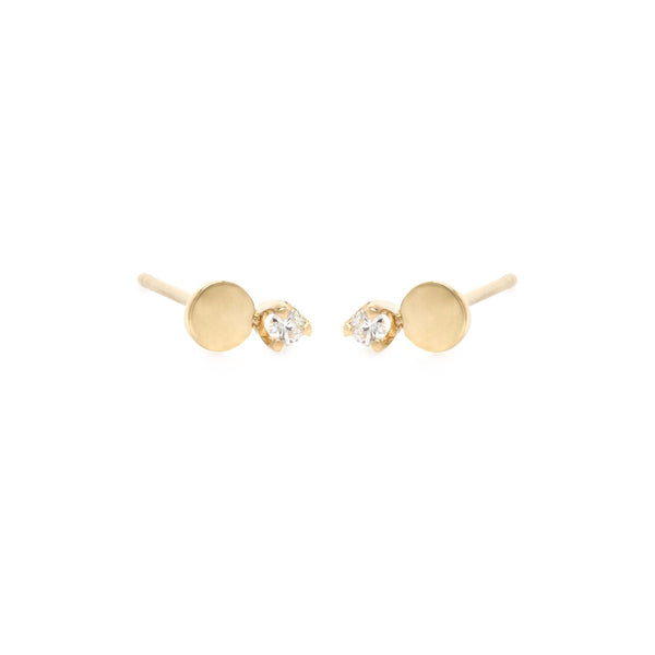 PRONG DIAMOND AND ROUND DISC STUD EARRINGS - 14K YELLOW GOLD
