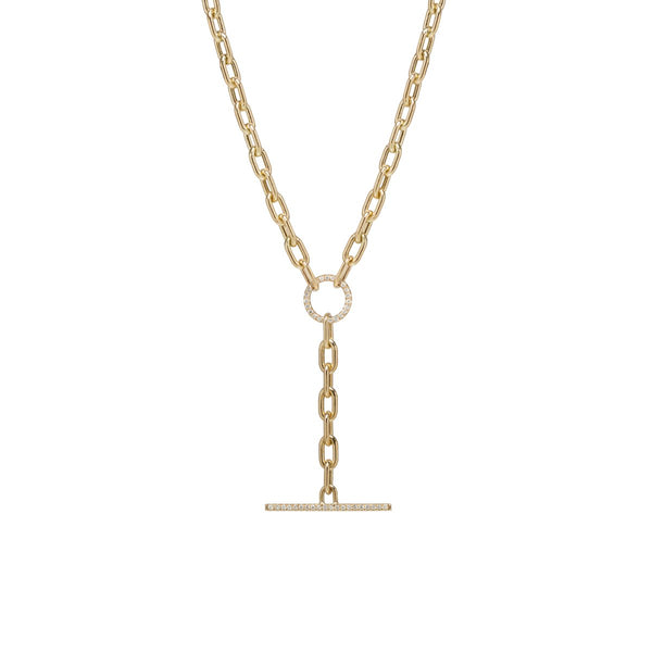 LARGE OVAL LINK CHAIN WITH PAVE DIAMOND FAUX TOGGLE - 14K GOLD