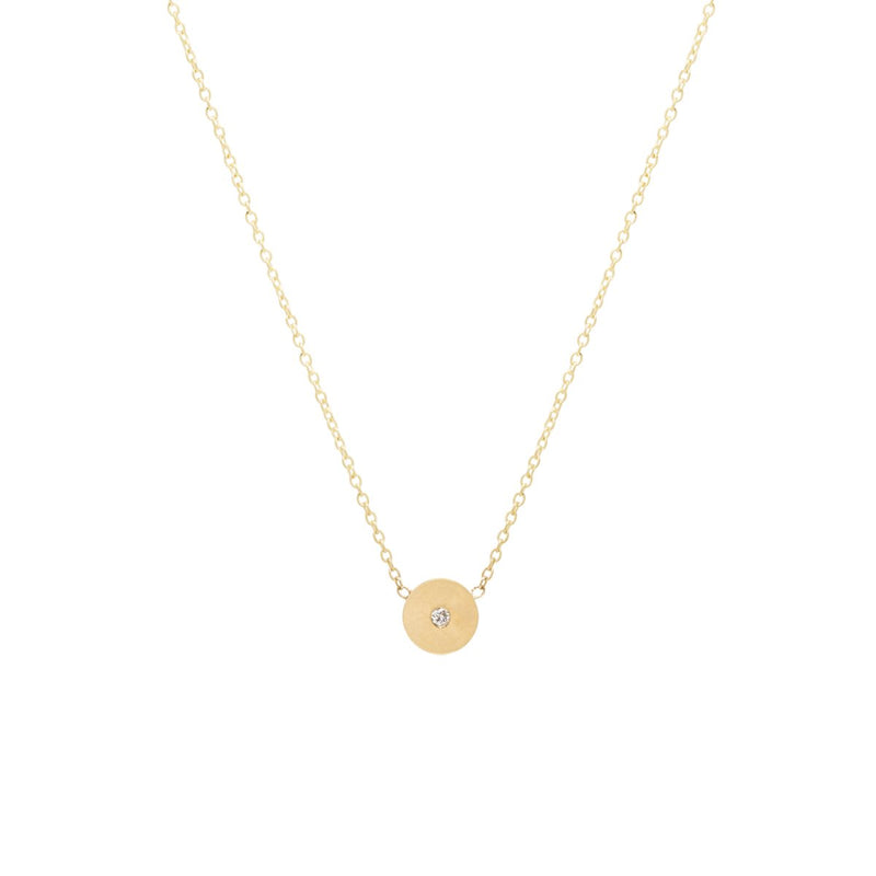 SINGLE DIAMOND MEDIUM ROUND DISC NECKLACE - 14K YELLOW GOLD