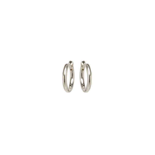SMALL HINGE HUGGIE HOOPS - 14k WHITE GOLD