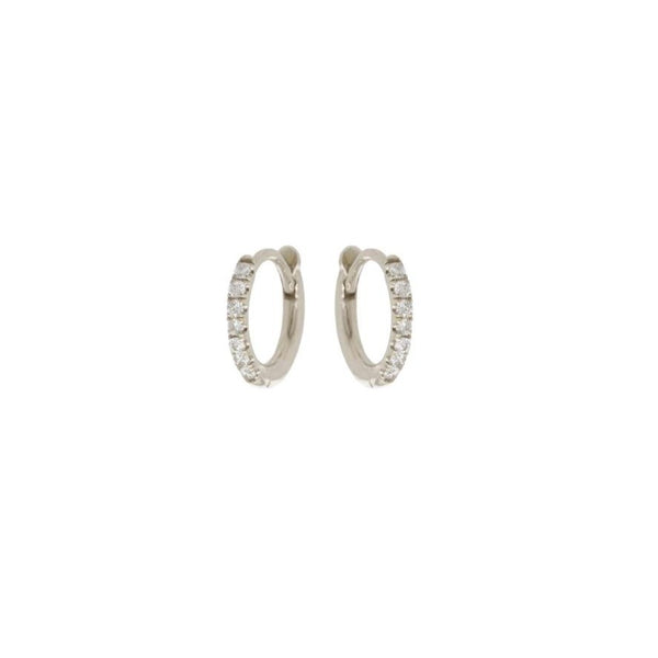 EXTRA SMALL PAVE DIAMOND HINGE HUGGIE HOOPS - 14K WHITE GOLD