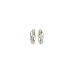 EXTRA SMALL HINGE HUGGIE HOOPS - 14K WHITE GOLD