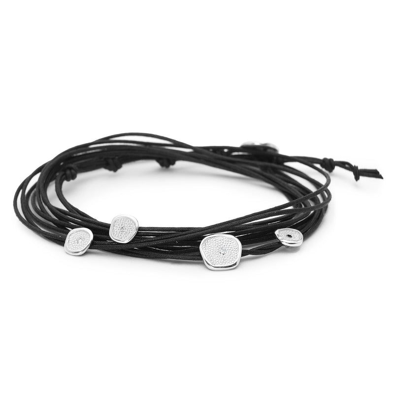 Black Linen Cord Diamond Wrap Bracelet
