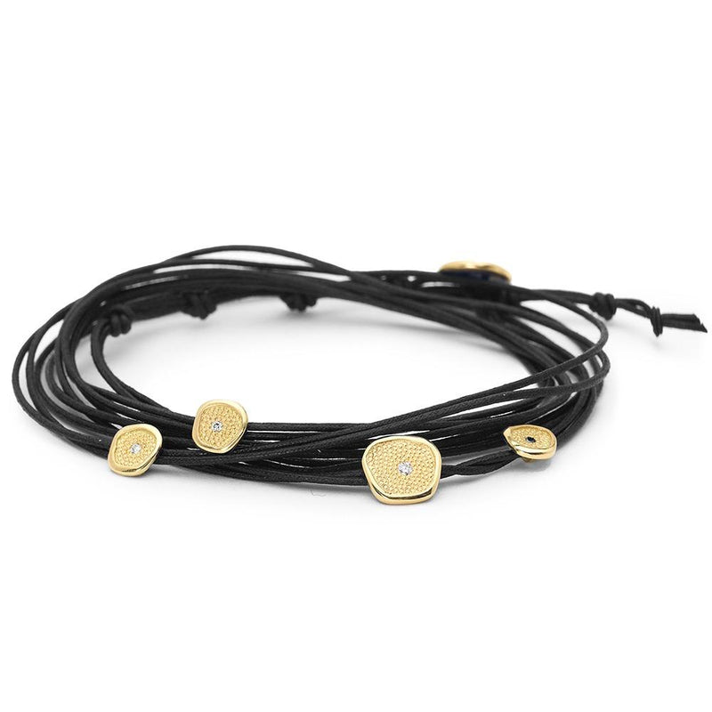 Black Linen Cord Diamond Wrap Bracelet - Anne Sportun Fine Jewellery