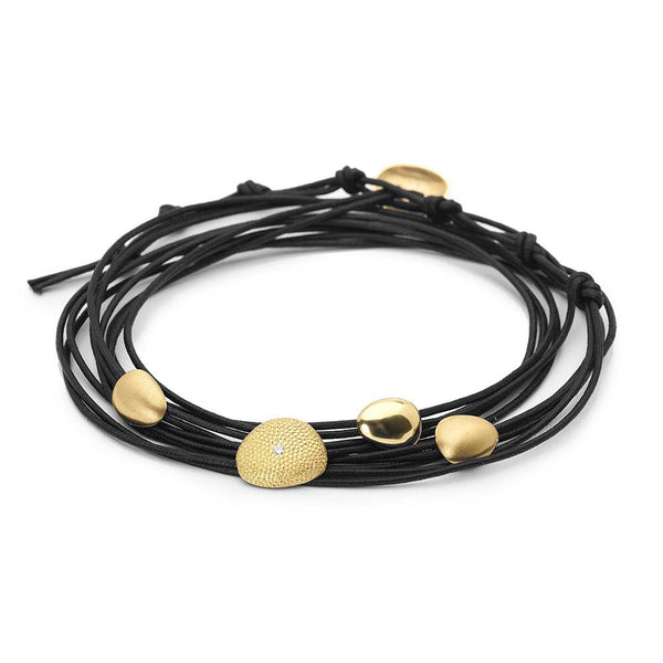 Black Linen Cord Four Petal Diamond Bracelet - Anne Sportun Fine Jewellery