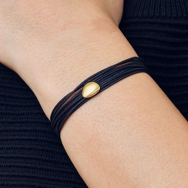 Black Linen Cord Single Petal Bracelet - Anne Sportun Fine Jewellery