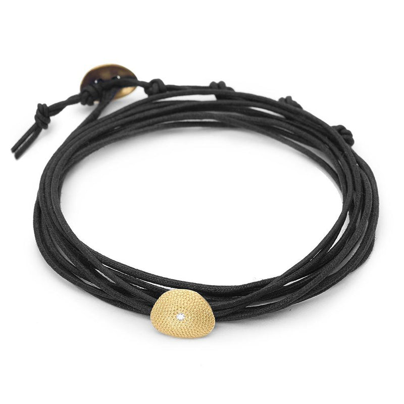 Black Linen Cord Single Petal Diamond Bracelet - Anne Sportun Fine Jewellery