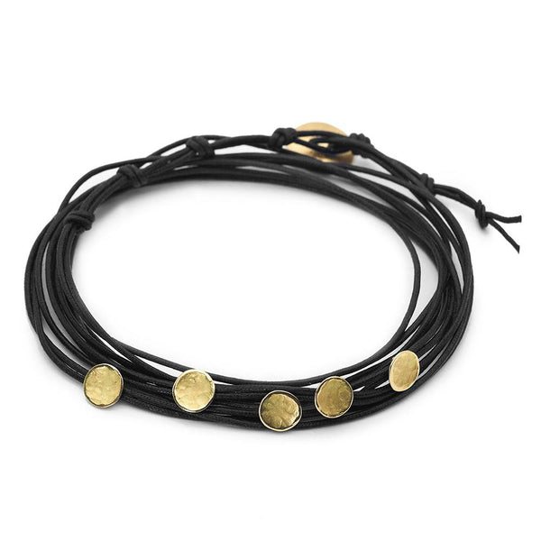 Black Linen Cord Five Hammered Disc Bracelet - Anne Sportun Fine Jewellery