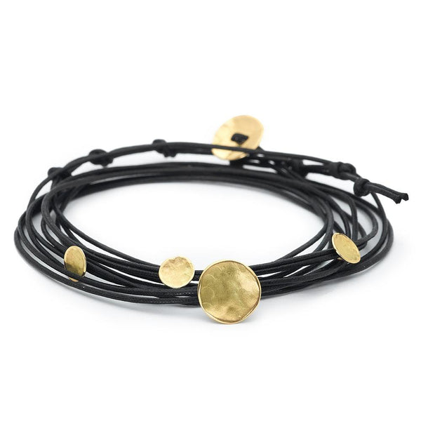 Black Linen Cord Four Hammered Disc Bracelet - Anne Sportun Fine Jewellery