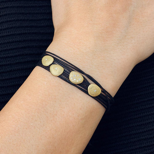 Black Linen Cord Varying Diamond Petal Bracelet - Anne Sportun Fine Jewellery