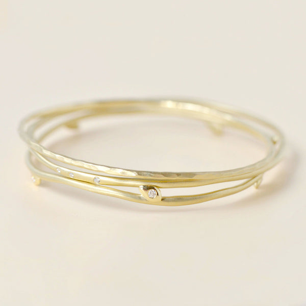 Set of Three Gold Hammered Bangles - Anne Sportun Fine Jewellery