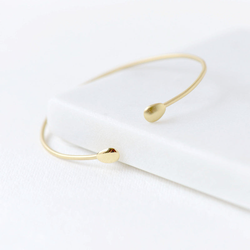 Open Polished Gold Petal Bangle - Anne Sportun Fine Jewellery