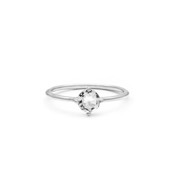 COMPASS RING | WHITE TOPAZ | SILVER