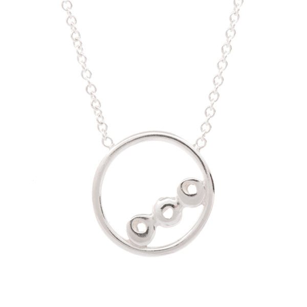 "Silver Tri ""Dot"" in Circle Necklace"