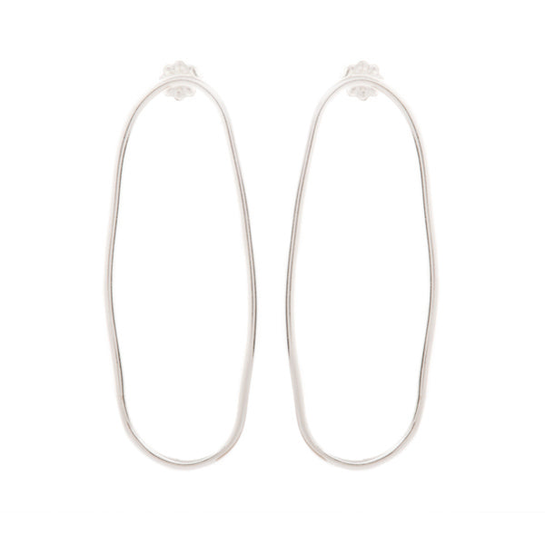 Medium Smooth Oval Earrings - Silver