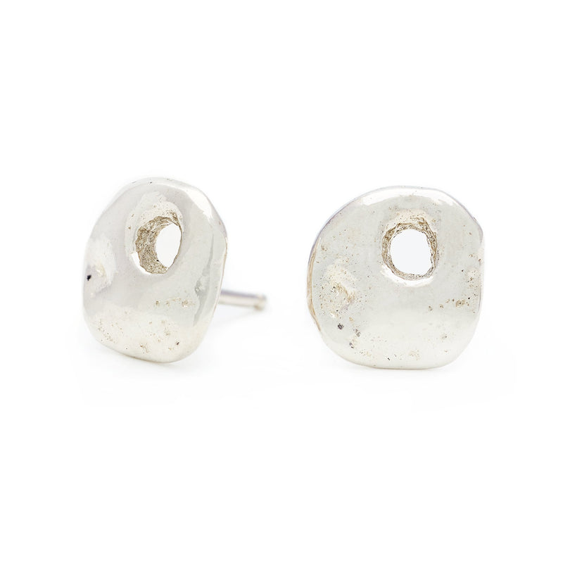 "Silver ""Honeycomb"" Luck Stud Earrings"