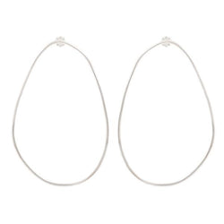 Large Egg Hoop Earrings - Silver