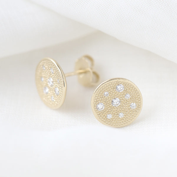 Diamond Paved Stardust Stud Earrings - Anne Sportun Fine Jewellery
