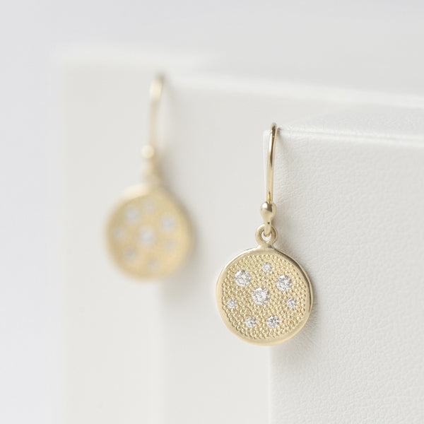 'Stardust' Disc Hook Earrings - Anne Sportun Fine Jewellery
