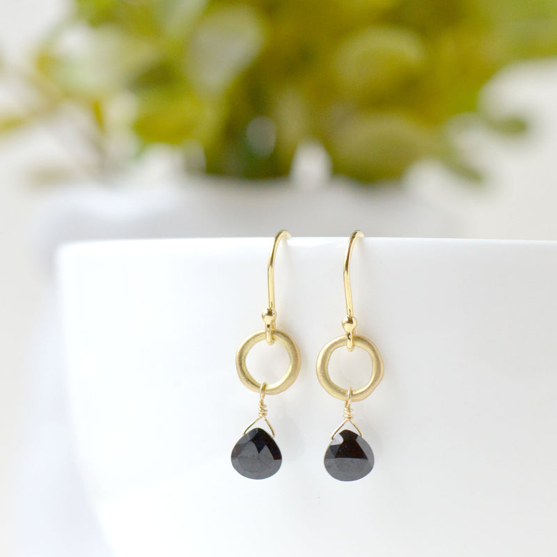 Heart Briolette Black Spinel Earrings - Anne Sportun Fine Jewellery