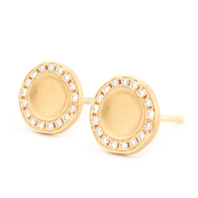 Gold Lilydust Cup Stud Earrings