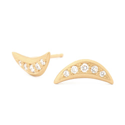 Crescent Flow Stud Diamonds Earrings - Anne Sportun Fine Jewellery