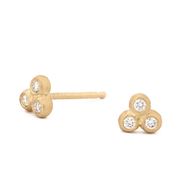 Trinity Diamond Mini Studs - Anne Sportun Fine Jewellery
